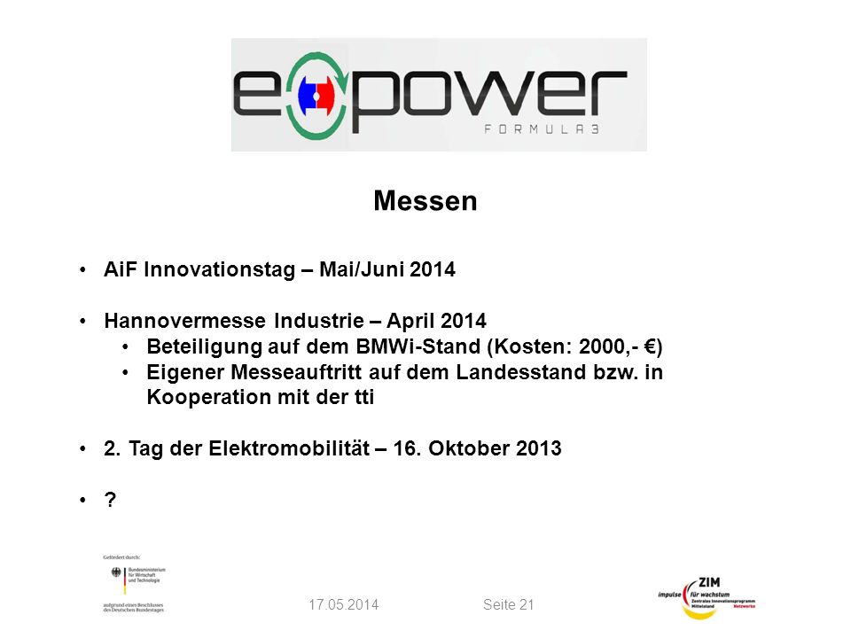 Messen AiF Innovationstag – Mai/Juni 2014