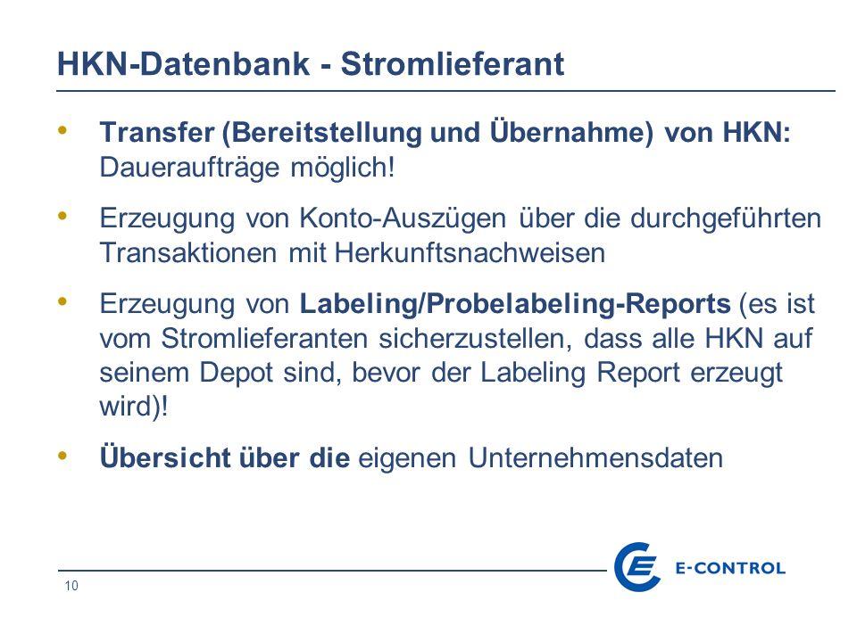 HKN-Datenbank - Stromlieferant