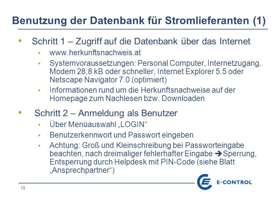 Benutzung der Datenbank für Stromlieferanten (1)