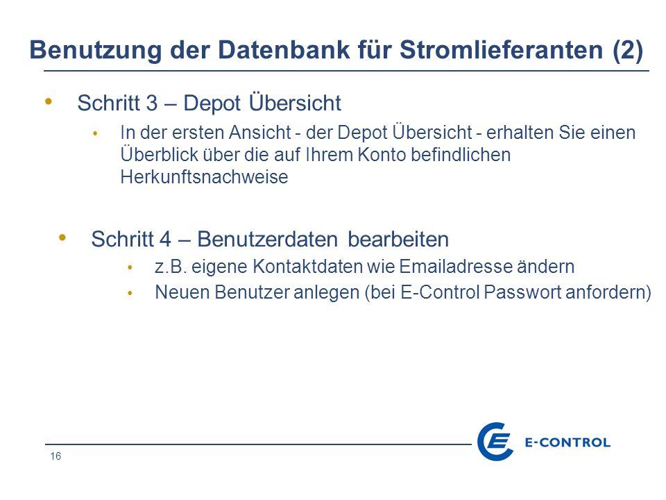 Benutzung der Datenbank für Stromlieferanten (2)