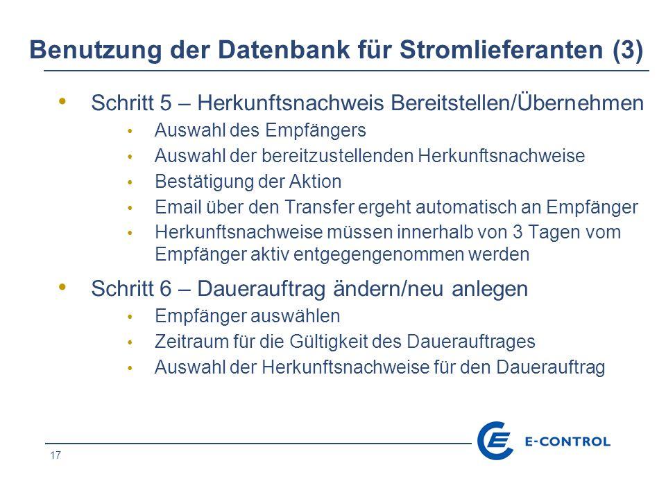 Benutzung der Datenbank für Stromlieferanten (3)