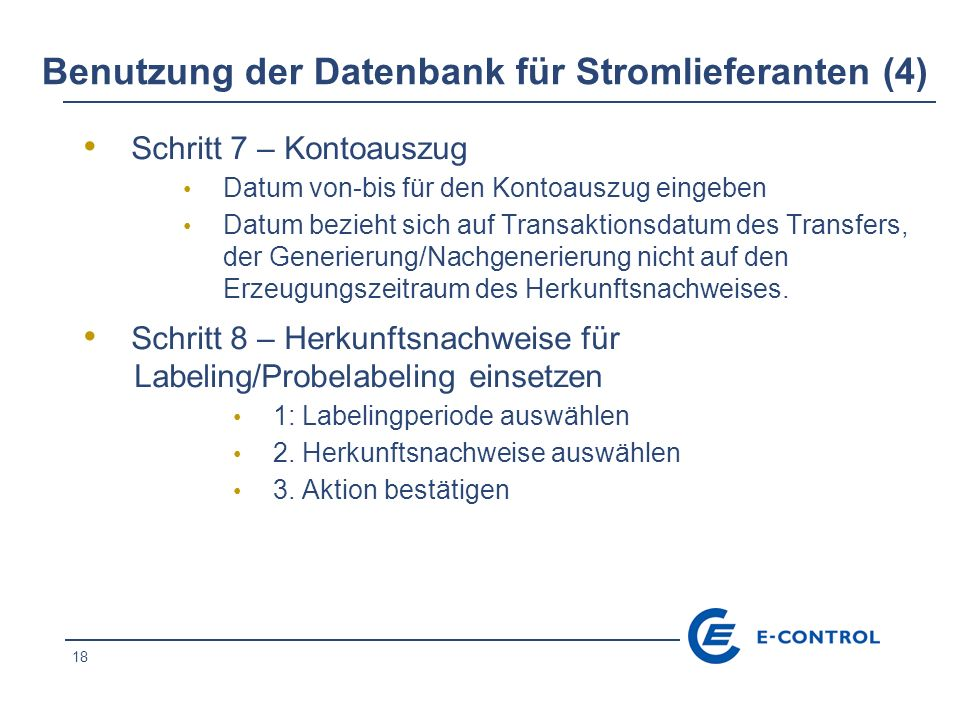 Benutzung der Datenbank für Stromlieferanten (4)