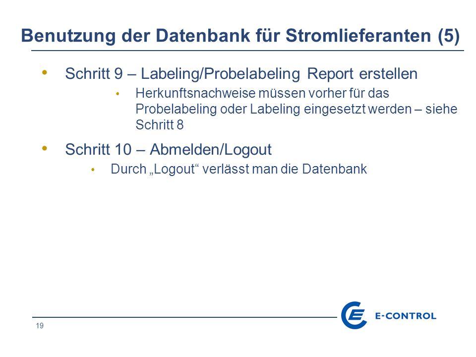 Benutzung der Datenbank für Stromlieferanten (5)