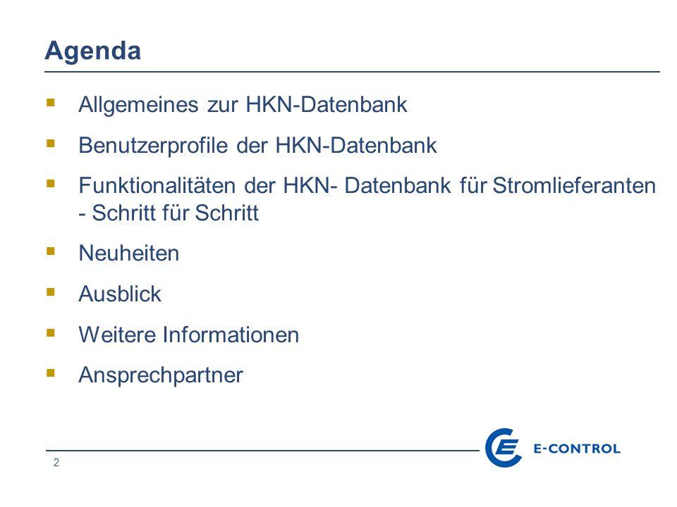 Agenda Allgemeines zur HKN-Datenbank Benutzerprofile der HKN-Datenbank