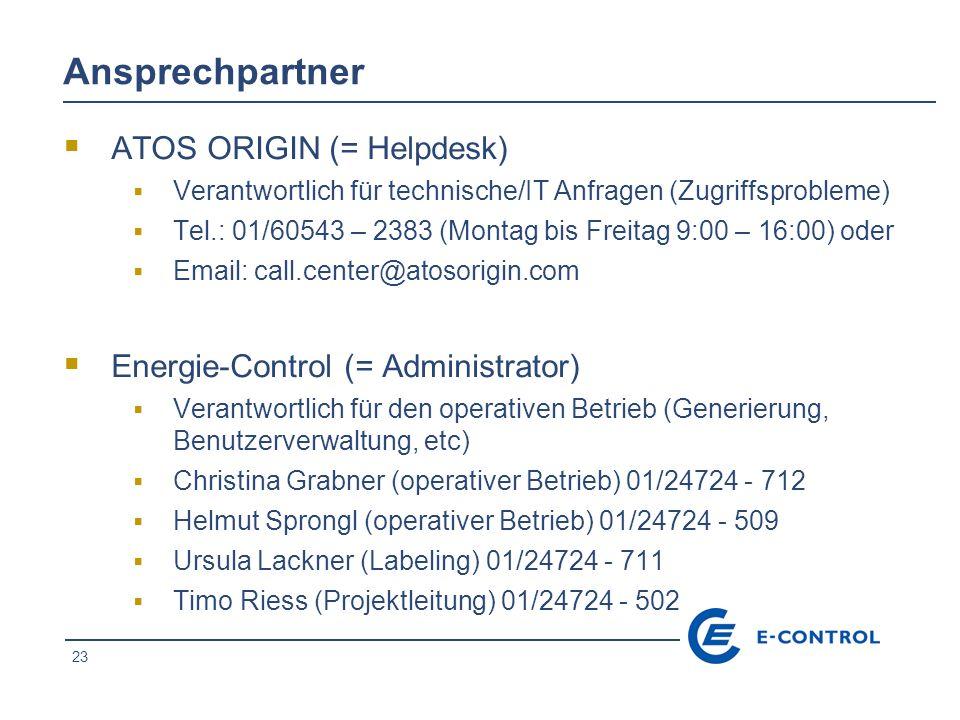 Ansprechpartner ATOS ORIGIN (= Helpdesk)