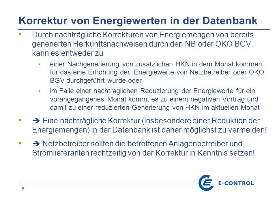 Korrektur von Energiewerten in der Datenbank