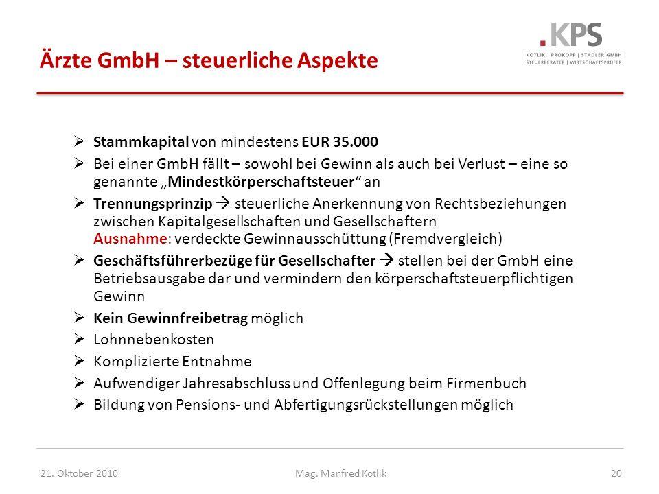 Ärzte GmbH – steuerliche Aspekte