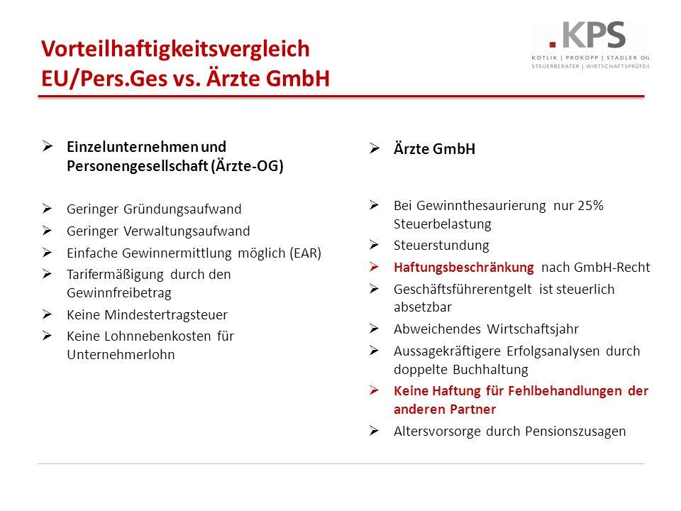 Vorteilhaftigkeitsvergleich EU/Pers.Ges vs. Ärzte GmbH