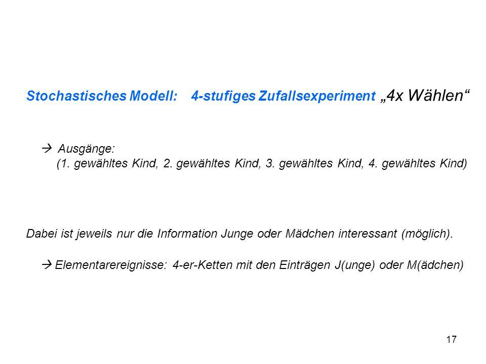 """Stochastisches Modell: 4-stufiges Zufallsexperiment """"4x Wählen"""