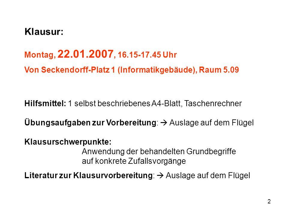 Klausur: Montag, 22.01.2007, 16.15-17.45 Uhr Von Seckendorff-Platz 1 (Informatikgebäude), Raum 5.09.