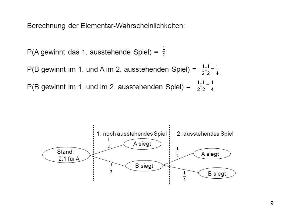 Berechnung der Elementar-Wahrscheinlichkeiten: