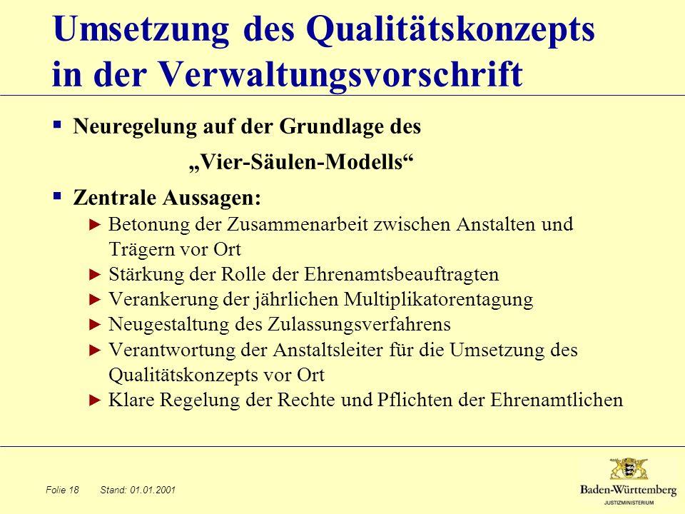 Umsetzung des Qualitätskonzepts in der Verwaltungsvorschrift