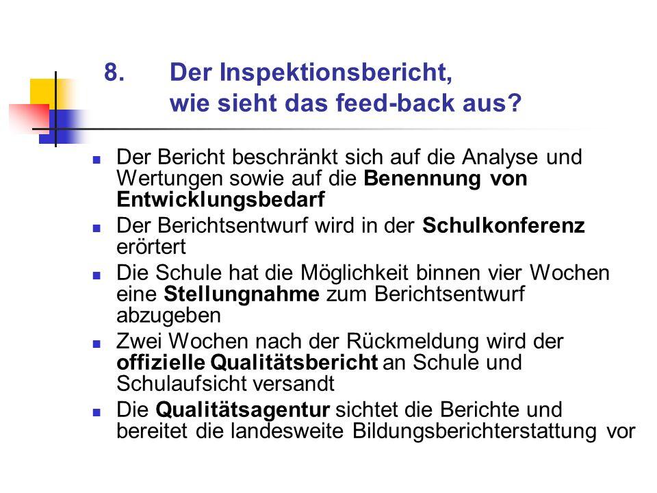 8. Der Inspektionsbericht, wie sieht das feed-back aus
