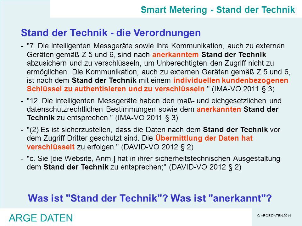 Stand der Technik - die Verordnungen