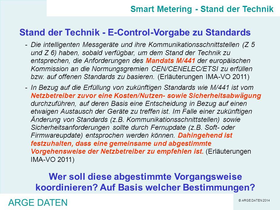 Stand der Technik - E-Control-Vorgabe zu Standards