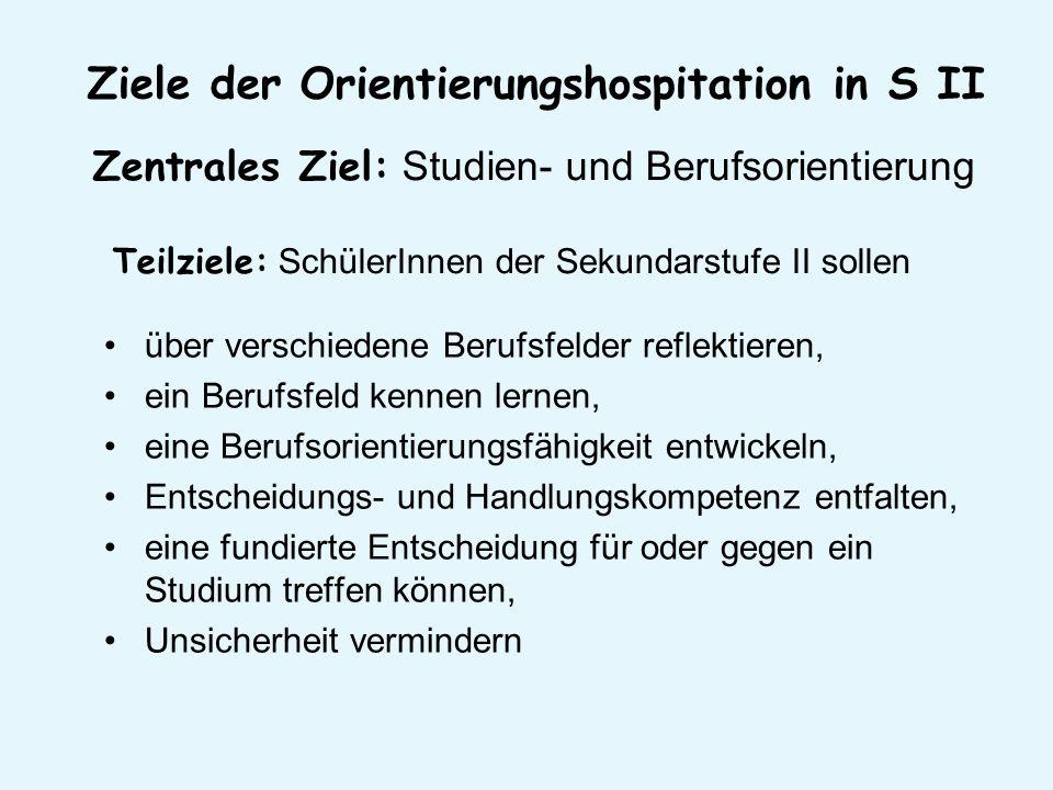 Ziele der Orientierungshospitation in S II
