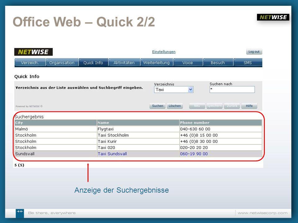 Office Web – Quick 2/2 Anzeige der Suchergebnisse