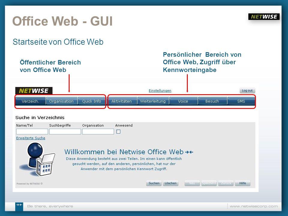 Office Web - GUI Startseite von Office Web