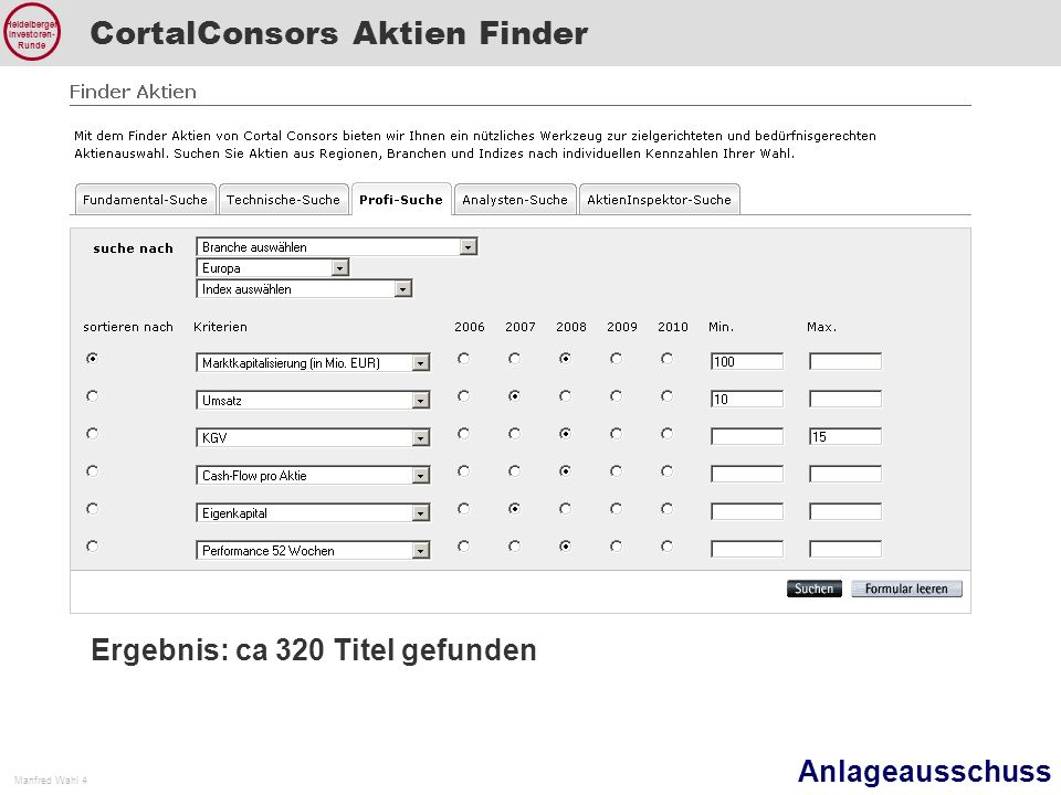 CortalConsors Aktien Finder