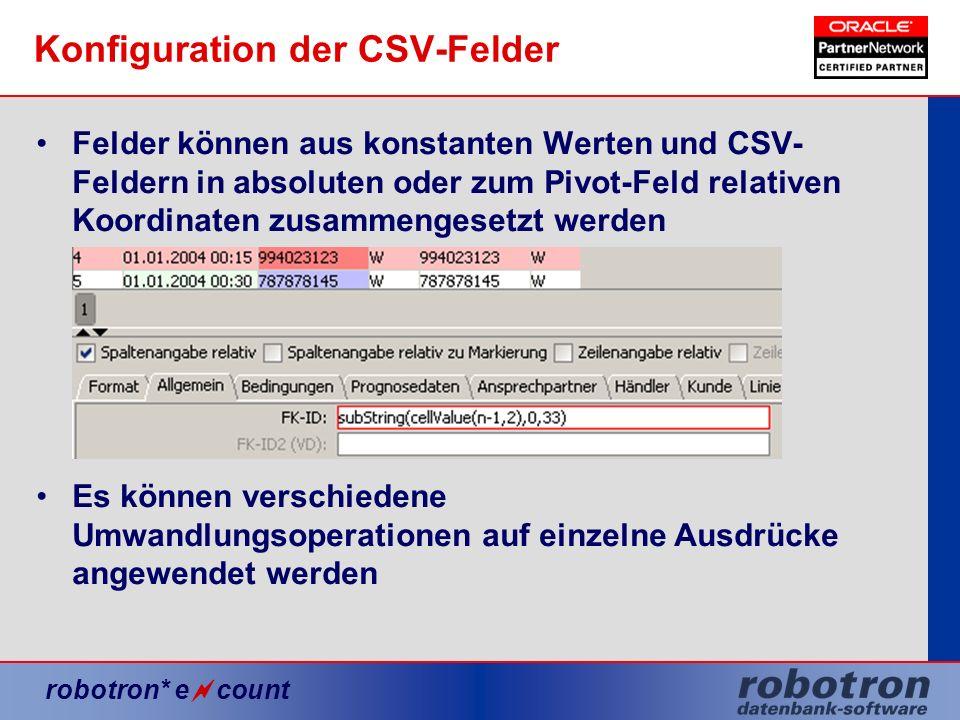 Konfiguration der CSV-Felder