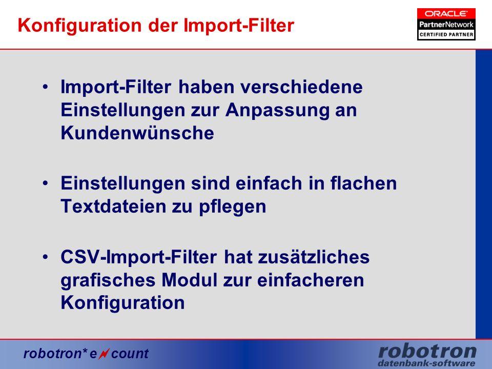 Konfiguration der Import-Filter