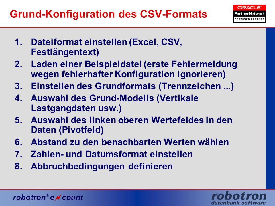 Grund-Konfiguration des CSV-Formats