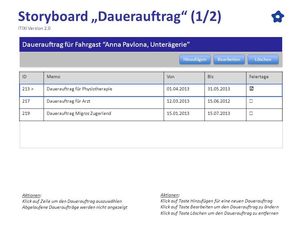 "Storyboard ""Dauerauftrag (1/2) iTIXI Version 2.0"