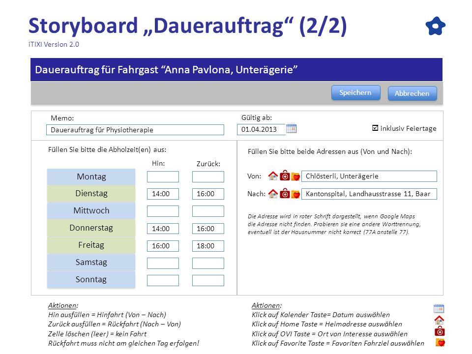 "Storyboard ""Dauerauftrag (2/2) iTIXI Version 2.0"