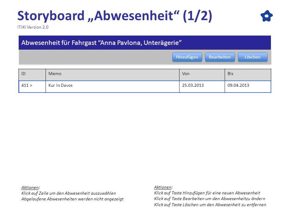 """Storyboard """"Abwesenheit (1/2) iTIXI Version 2.0"""