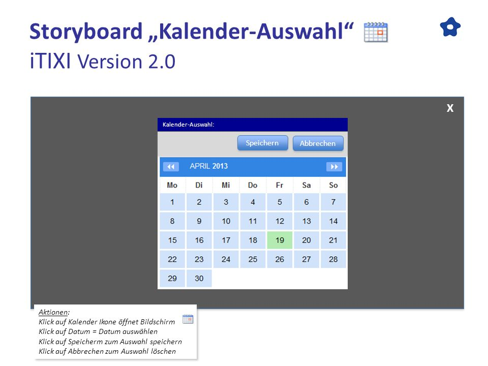 "Storyboard ""Kalender-Auswahl iTIXI Version 2.0"