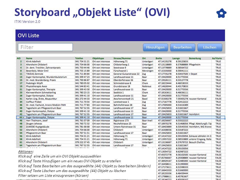 """Storyboard """"Objekt Liste (OVI) iTIXI Version 2.0"""