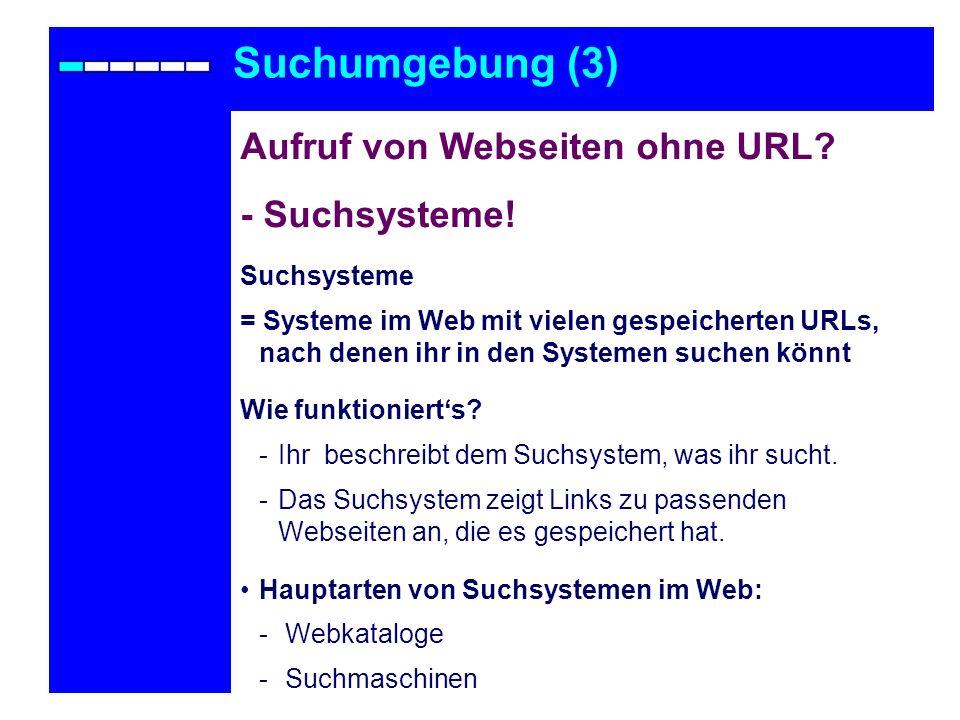 Suchumgebung (3) Aufruf von Webseiten ohne URL - Suchsysteme!