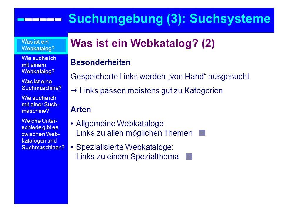 Suchumgebung (3): Suchsysteme
