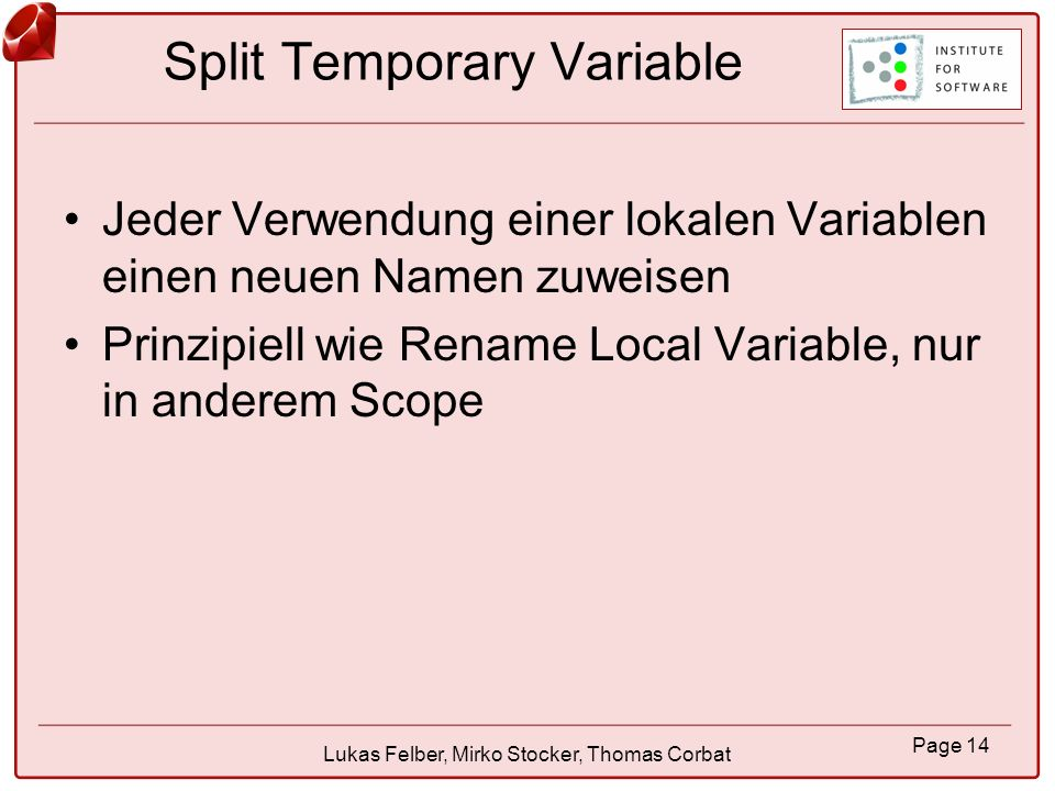 Split Temporary Variable
