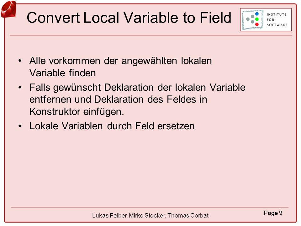 Convert Local Variable to Field