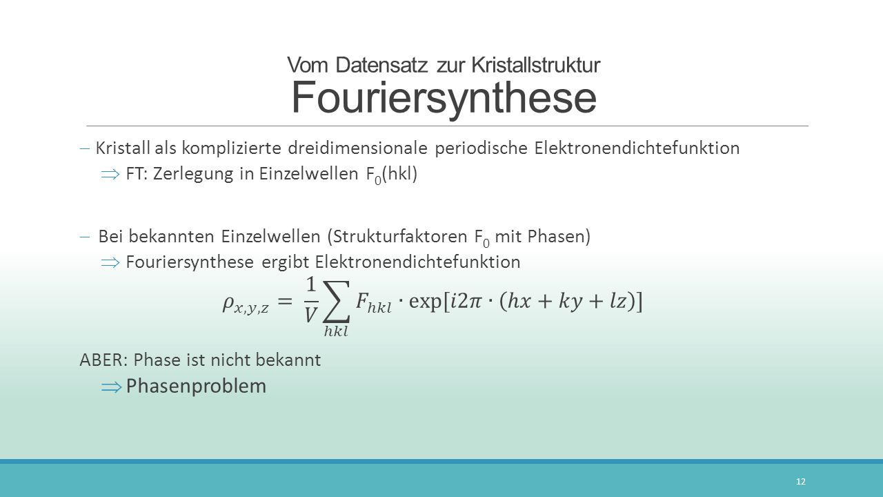 Vom Datensatz zur Kristallstruktur Fouriersynthese
