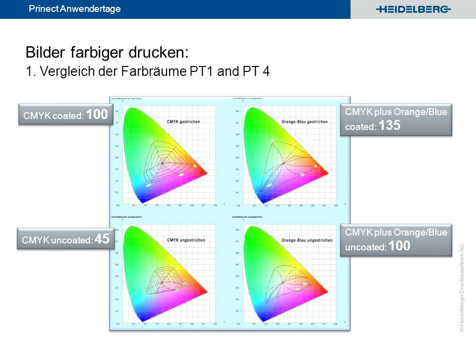 Bilder farbiger drucken: 1. Vergleich der Farbräume PT1 and PT 4