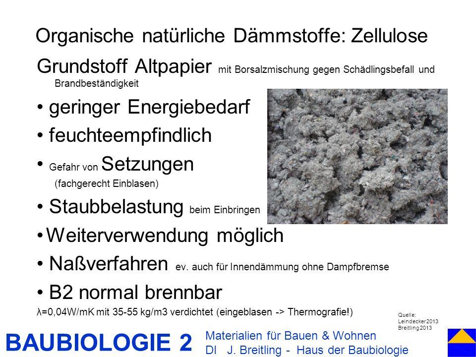 Organische natürliche Dämmstoffe: Zellulose