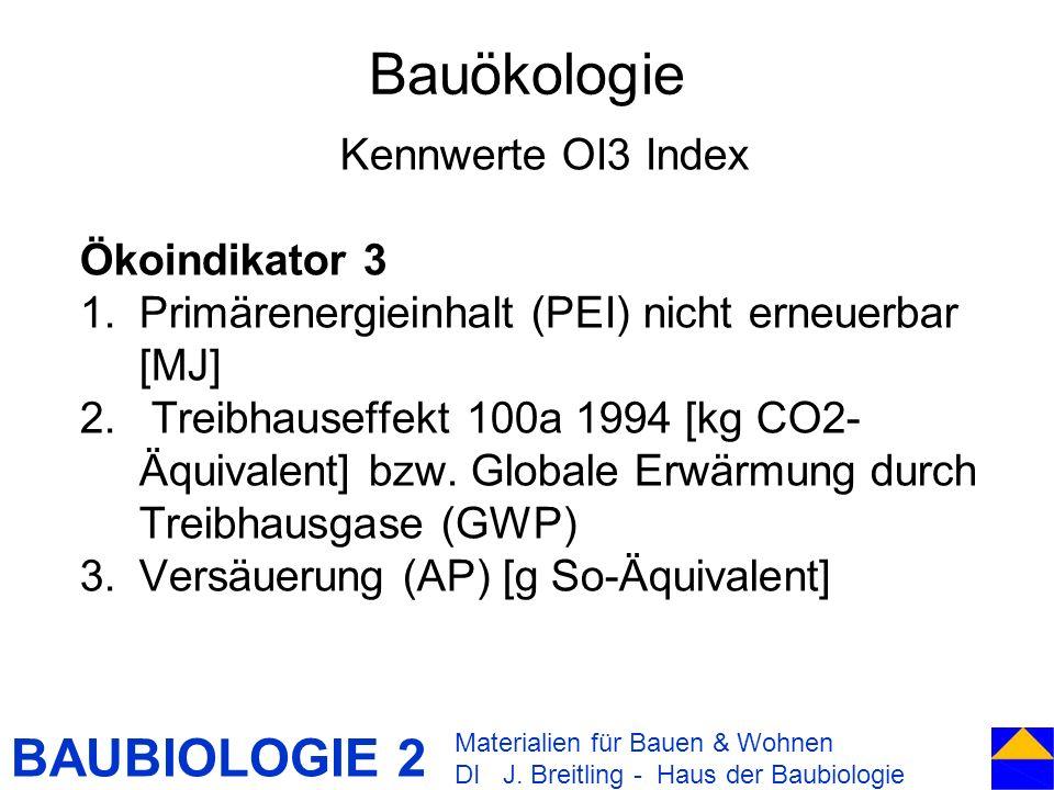 Bauökologie Kennwerte OI3 Index Ökoindikator 3