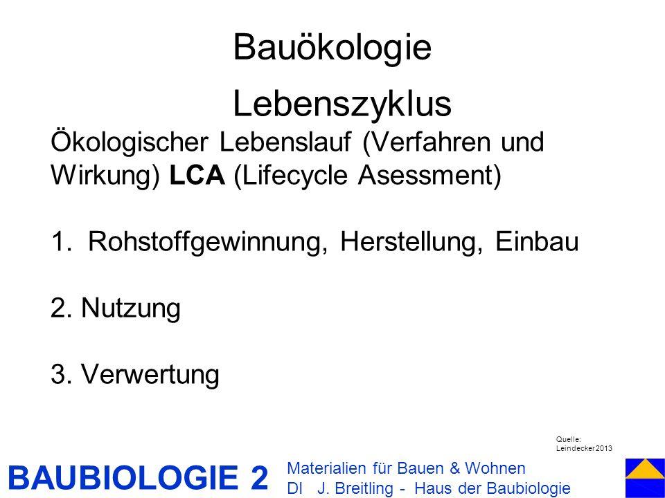 Bauökologie Lebenszyklus