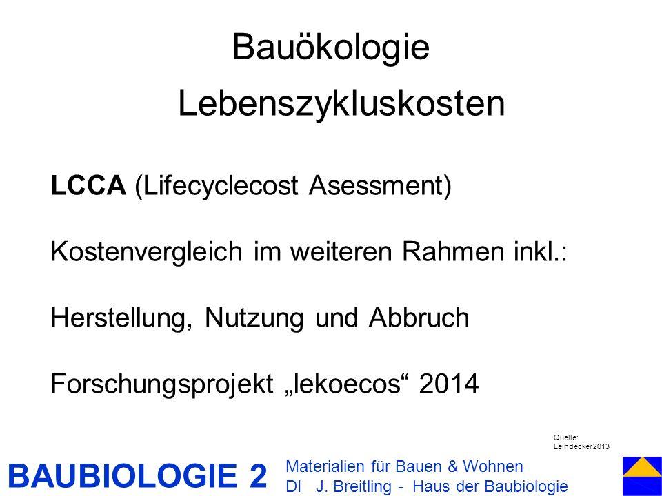 Bauökologie Lebenszykluskosten LCCA (Lifecyclecost Asessment)