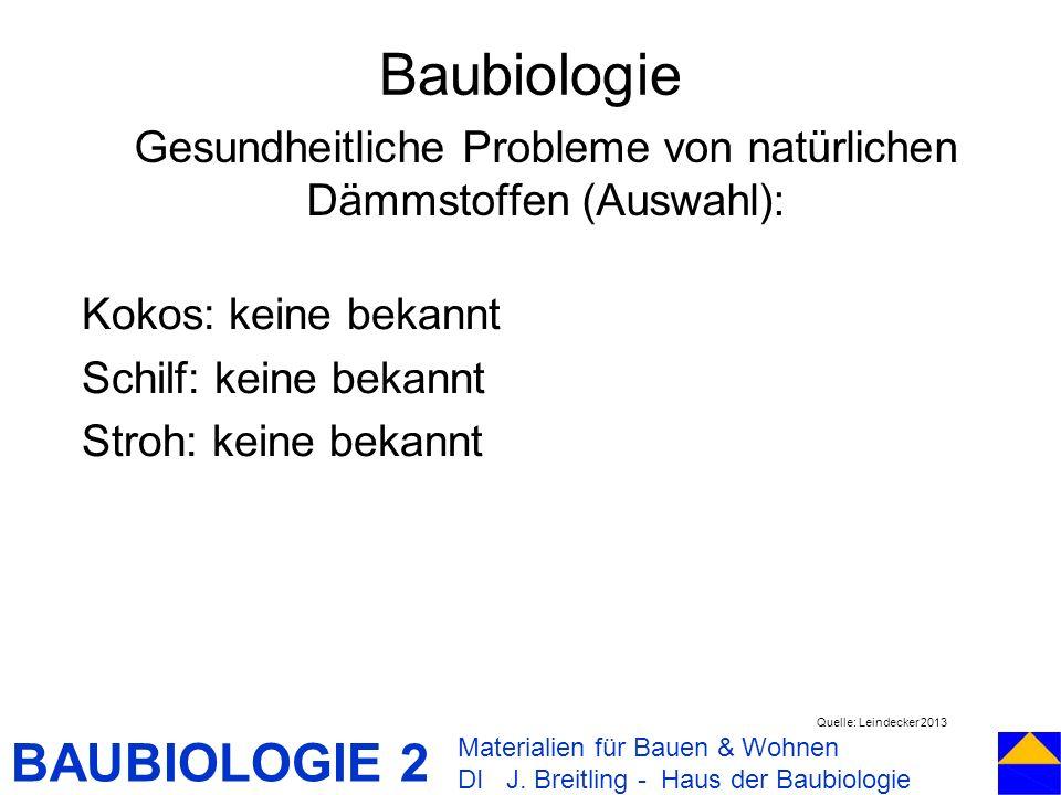 Gesundheitliche Probleme von natürlichen Dämmstoffen (Auswahl):