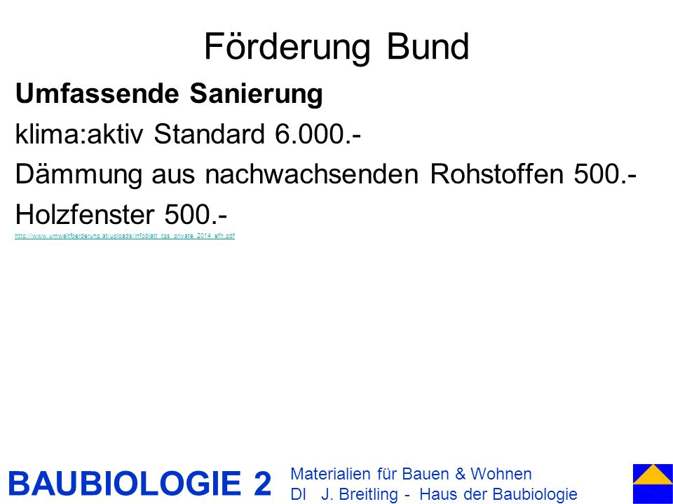 Förderung Bund Umfassende Sanierung klima:aktiv Standard 6.000.-