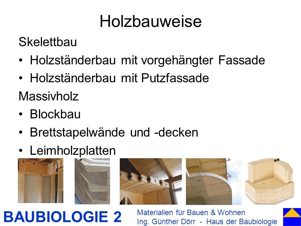Holzbauweise Skelettbau Holzständerbau mit vorgehängter Fassade