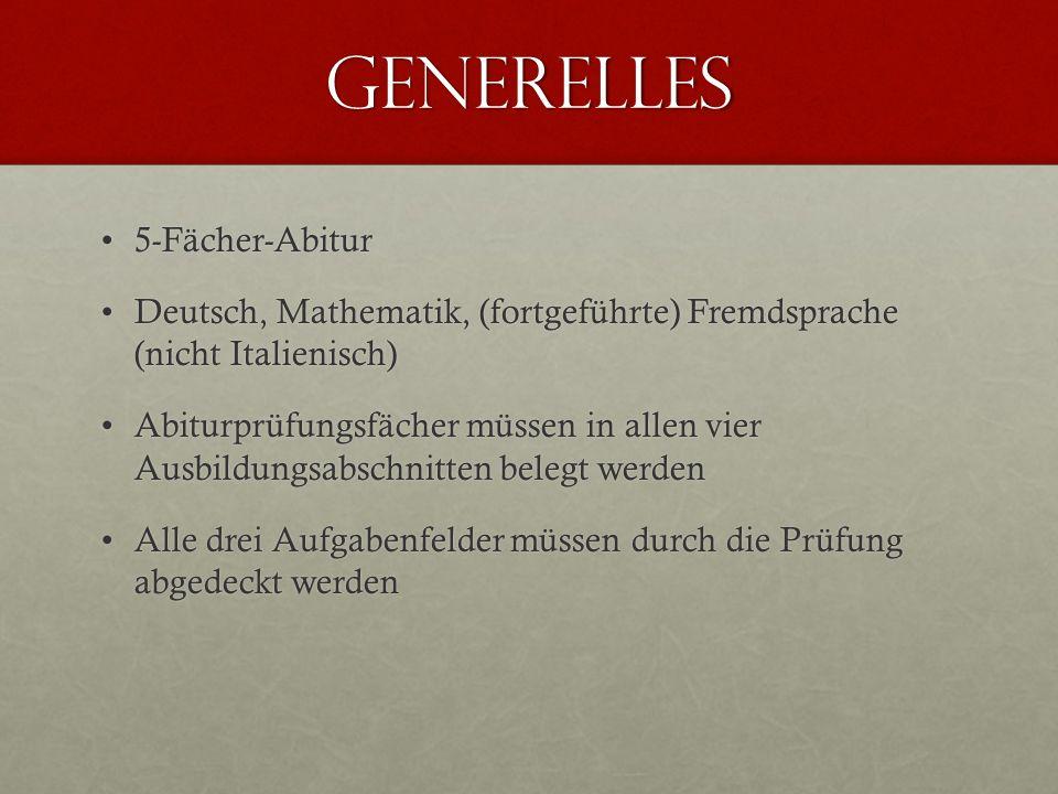Generelles 5-Fächer-Abitur