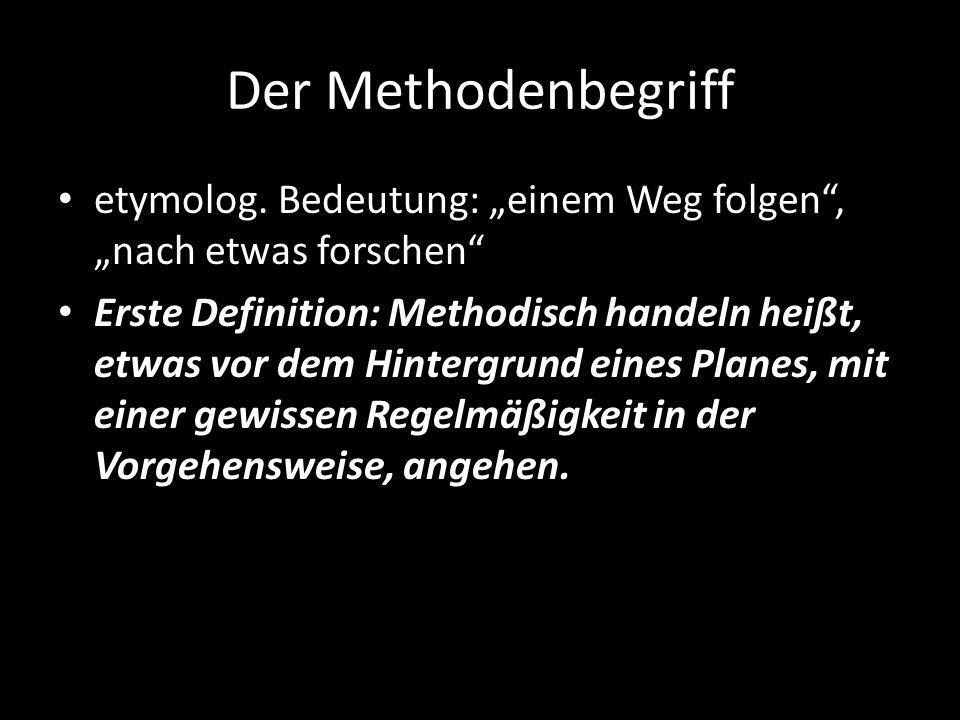 """Der Methodenbegriff etymolog. Bedeutung: """"einem Weg folgen , """"nach etwas forschen"""