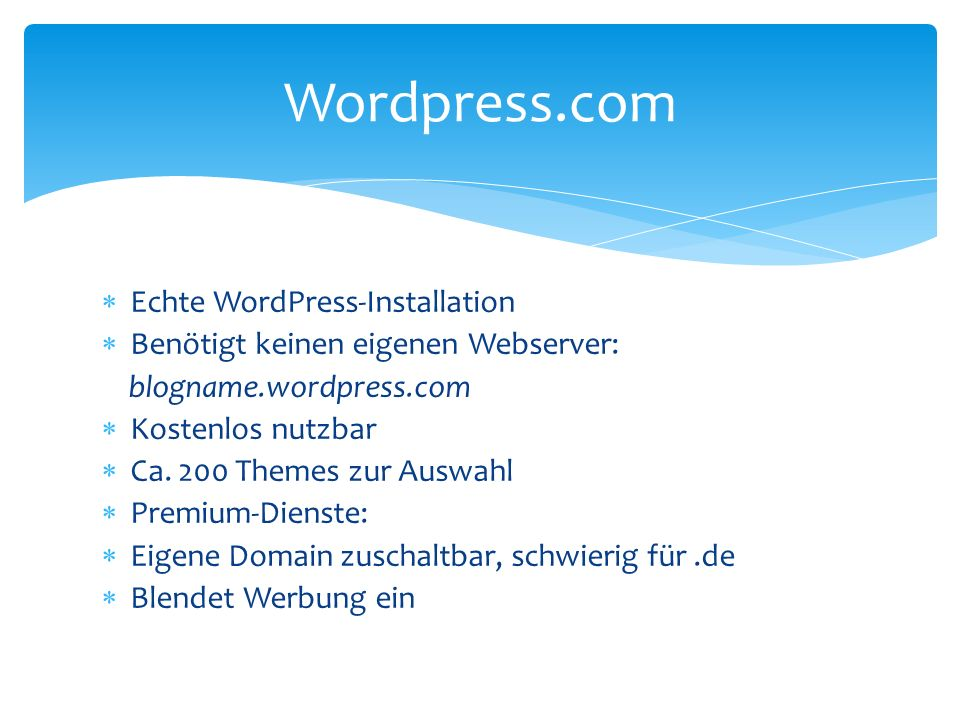 Wordpress.com Echte WordPress-Installation