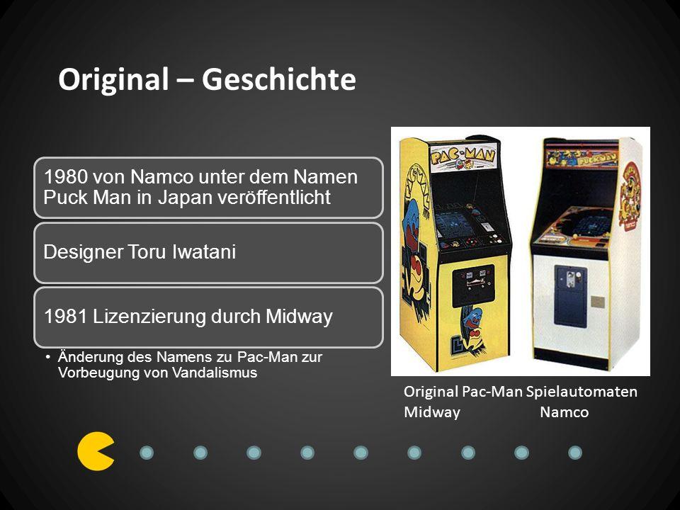 Original – Geschichte 1980 von Namco unter dem Namen Puck Man in Japan veröffentlicht. Designer Toru Iwatani.