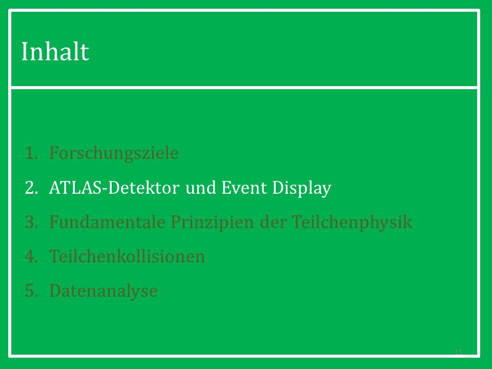 Inhalt Forschungsziele ATLAS-Detektor und Event Display