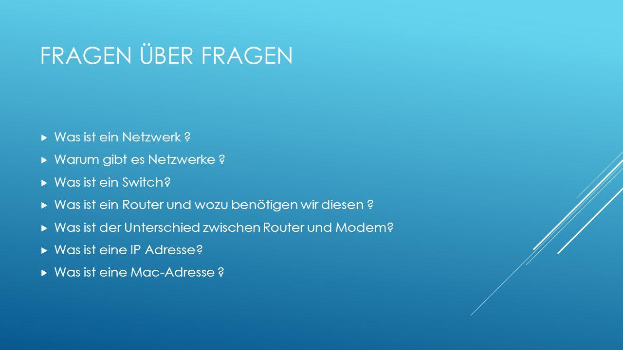Fragen über Fragen Was ist ein Netzwerk Warum gibt es Netzwerke